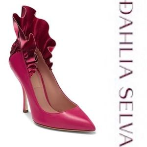 DAHLIA SELVA Frills For All Pink Leather Pump